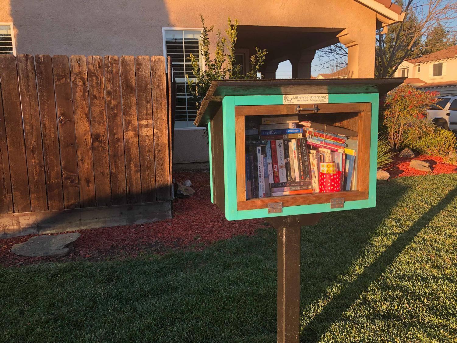 Little Free Library stands at the corner of Chantilly and Colbert street