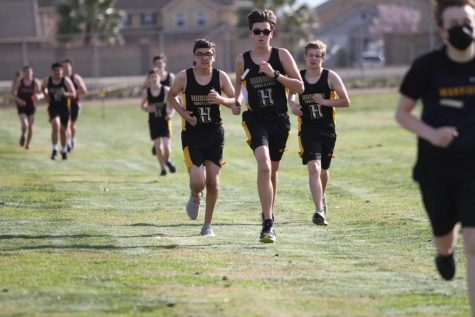 The Hughson High School Cross Country team at a meet in mid-February.