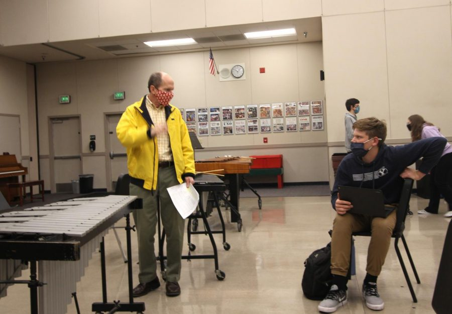 Mr. Thompson, Hughson High drama teacher, and Hughson High School Junior Jacob Hanson discuss an assigned sketch.